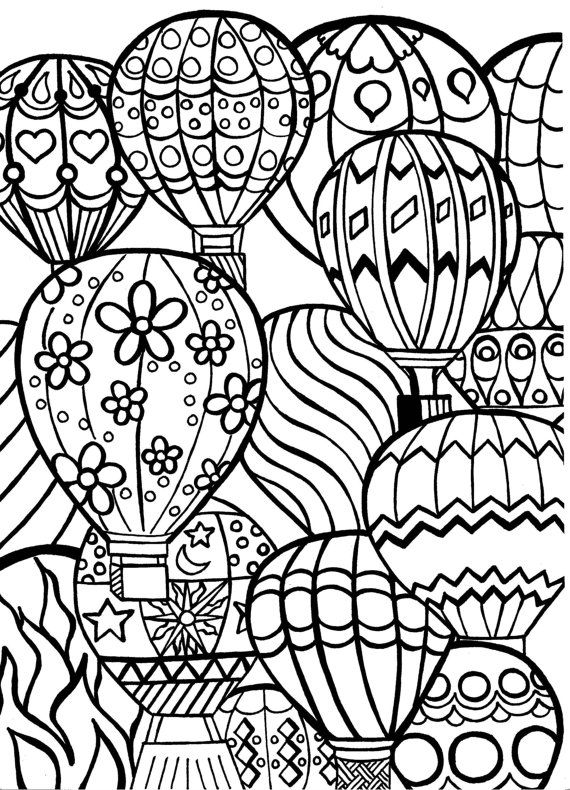 coloring page for adults hot air balloons hand