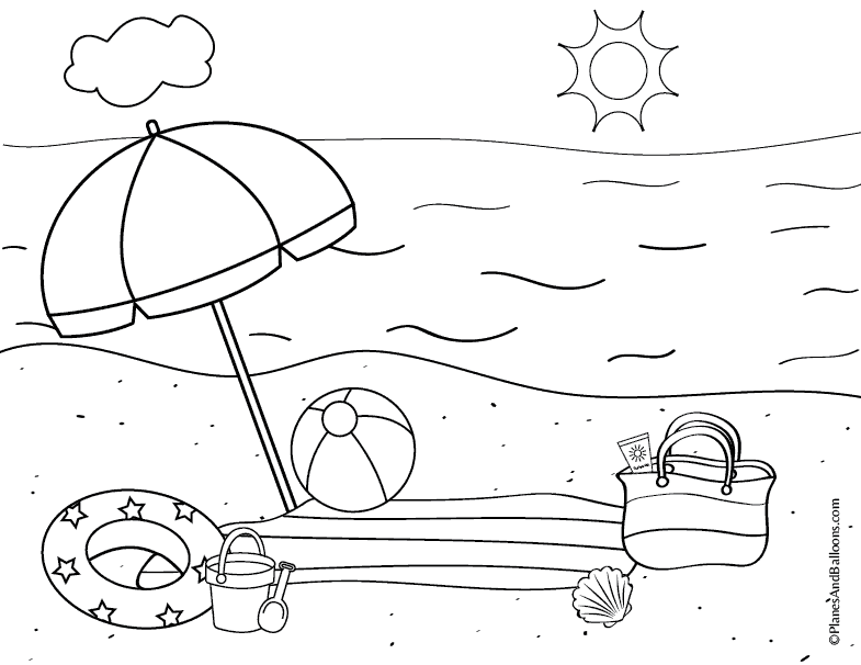 coloring page printable beach pusat hobi