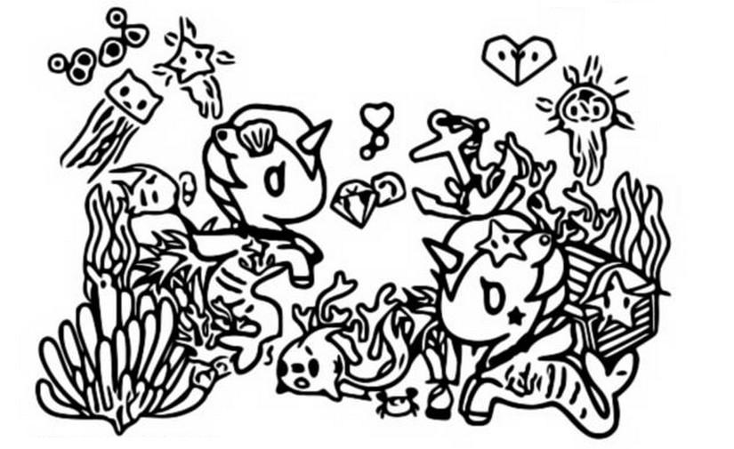 coloring page tokidoki mermicorno 1