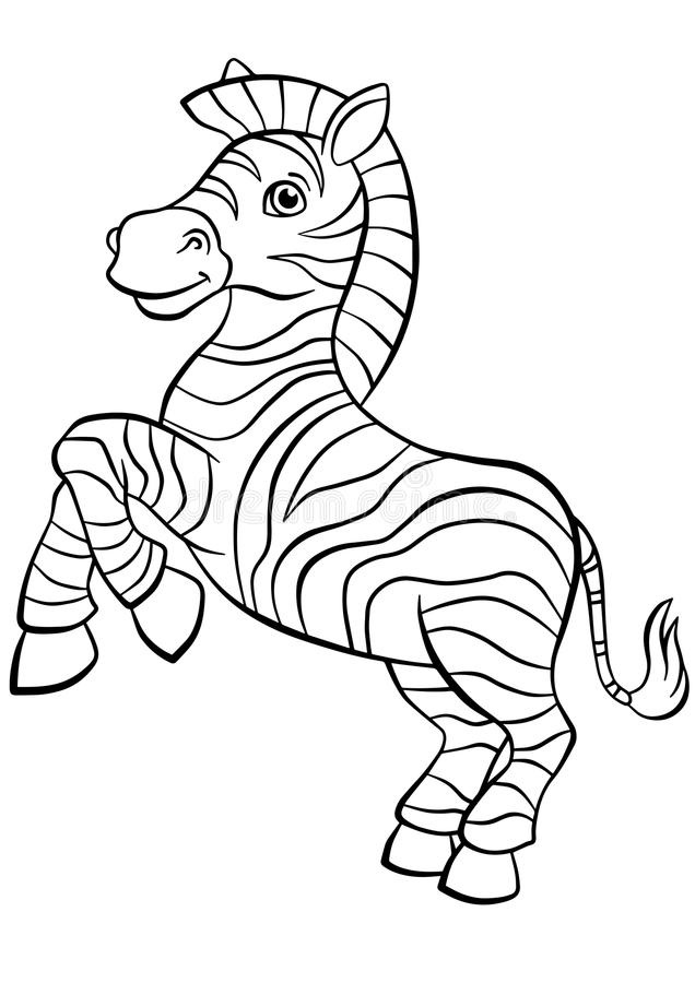 coloring pages animals little cute zebra stock vector