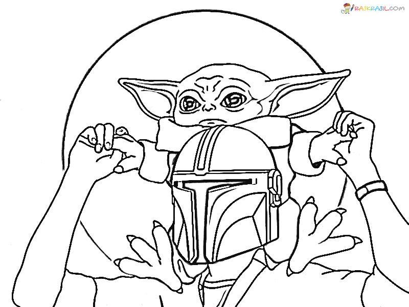 coloring pages ba yoda the mandalorian and ba yoda free