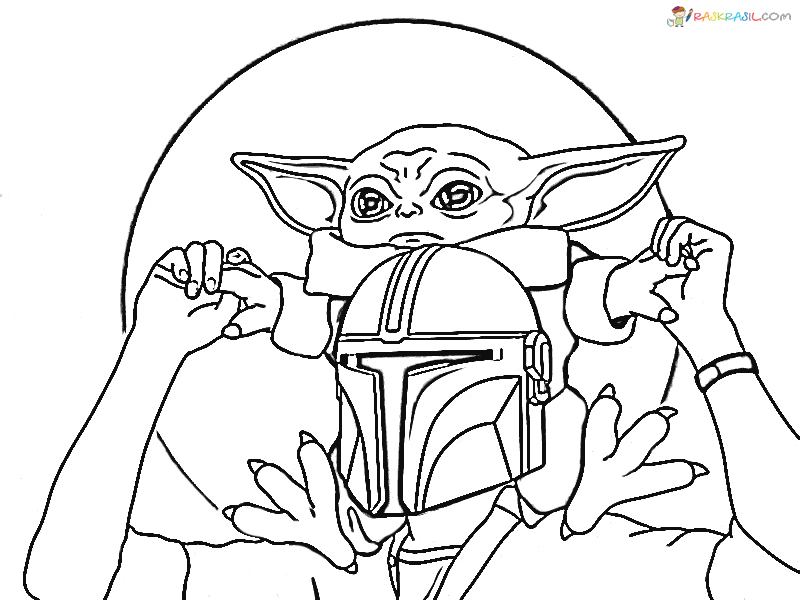 coloring pages ba yoda the mandalorian and ba yoda free