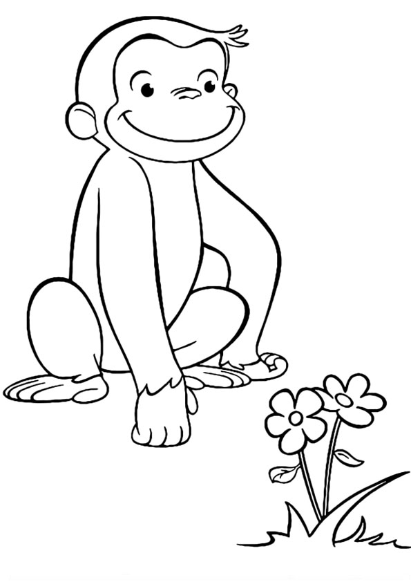 coloring pages curious george flower garden coloring page