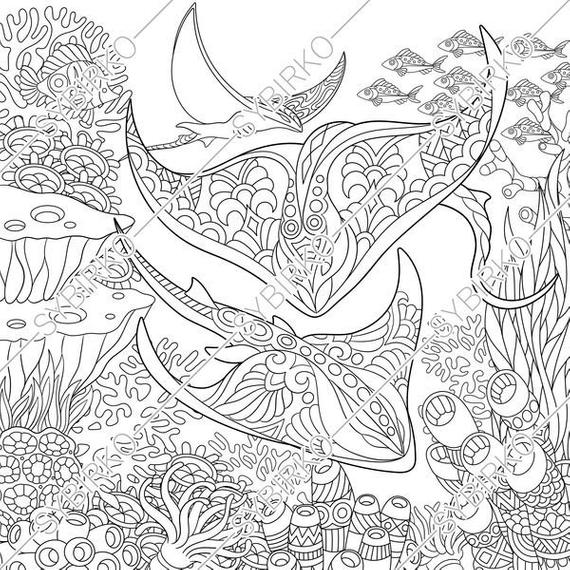 coloring pages for adults stingray manta ray ocean fish underwater sea animals colouring pages coloring book instant download print