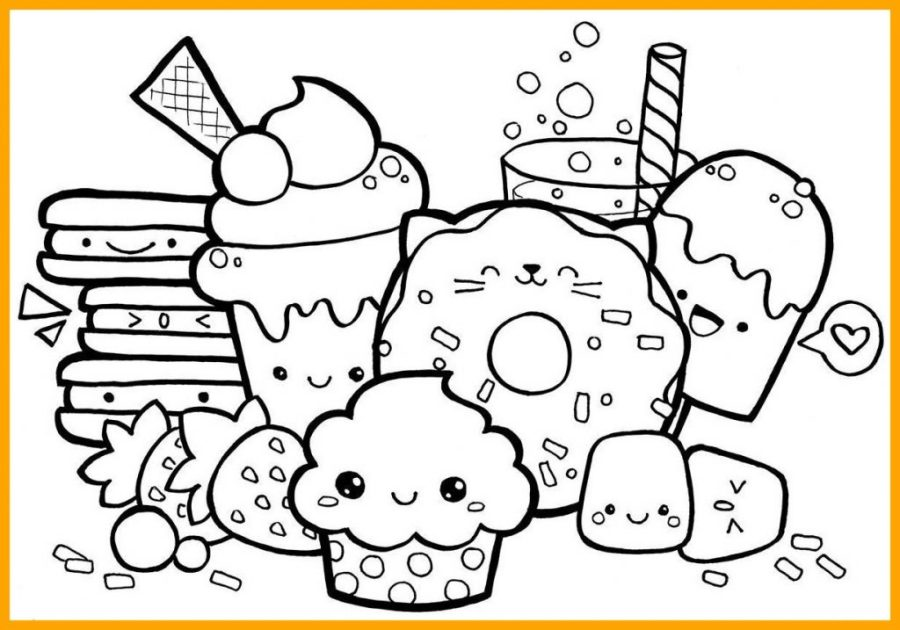 coloring pages ideas cute kawaii food coloring pages at