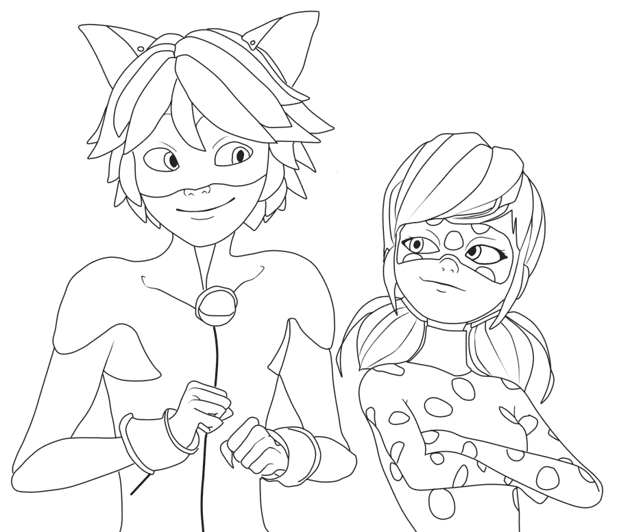 coloring pages ladybug and cat noir miraculous ladybug