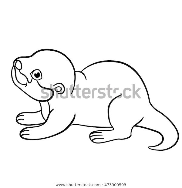 coloring pages little cute ba otter stock vektorgrafik