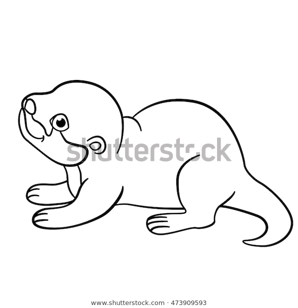 coloring pages little cute ba otter stock vektorgrafik
