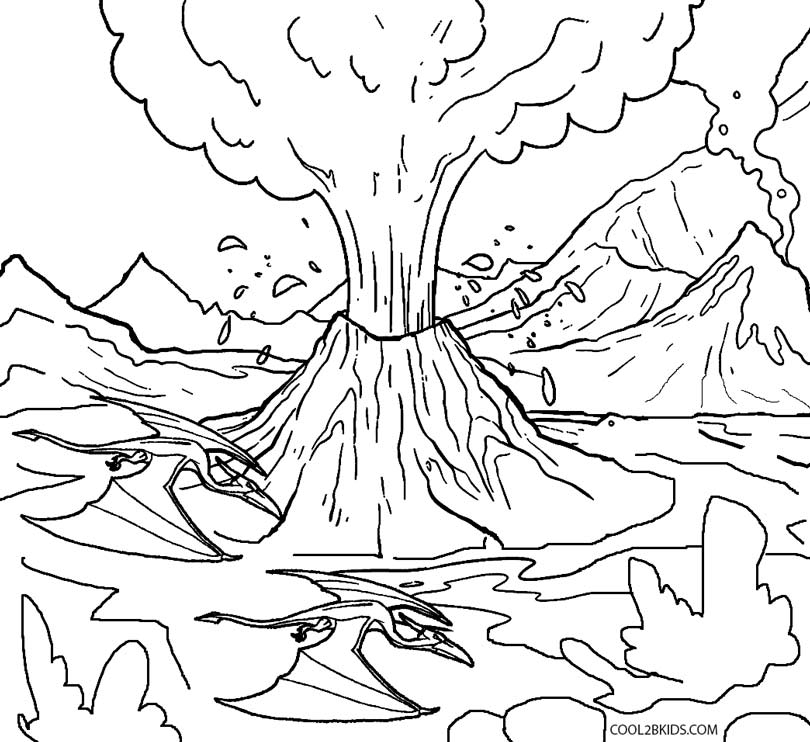 coloring pages of volcanoes
