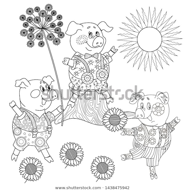 coloring pages three little pigs fairy stock vector royalty