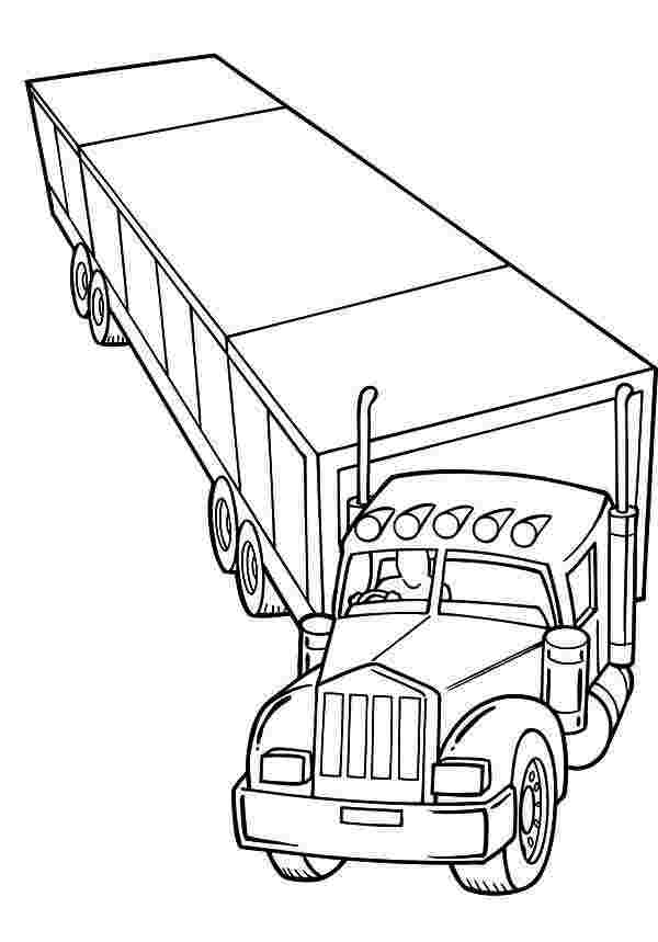 coloring pages truck trailer kenworth wrecker 84 long
