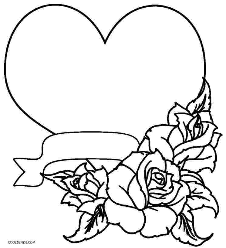 coloring pages with hearts and roses printable rose coloring