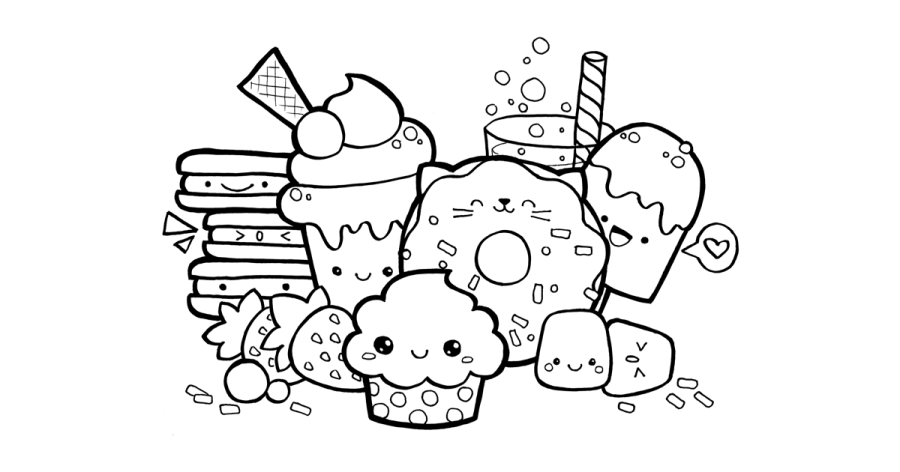 colouring pages cute food kawaii coloring pages to download