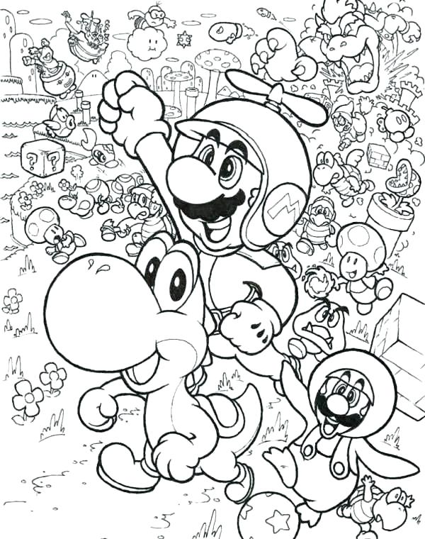 colouring pages super mario pusat hobi