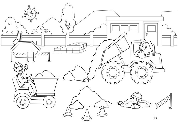 construction site coloring pages for kids construction