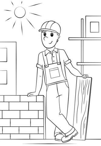 construction worker coloring page free printable coloring