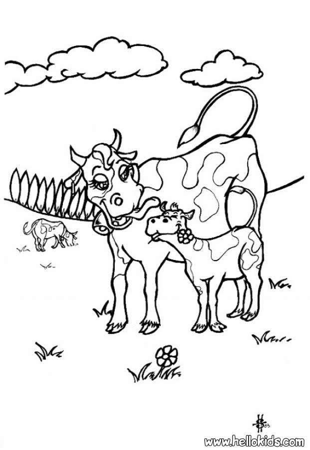 cow with calf coloring pages hellokids