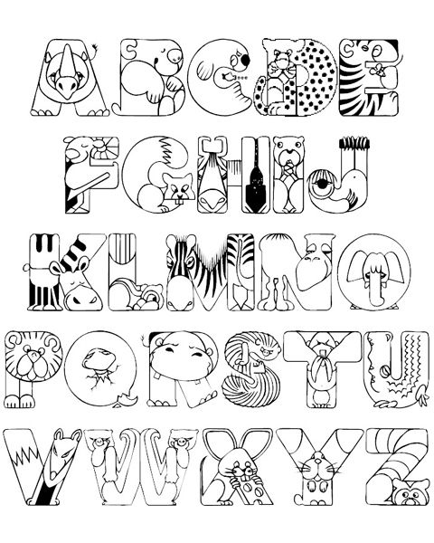 crazy zoo alphabet coloring pages basteln abc