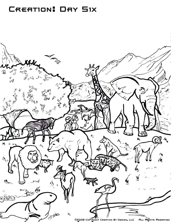creation day six with dinosaurs coloring pages free fun