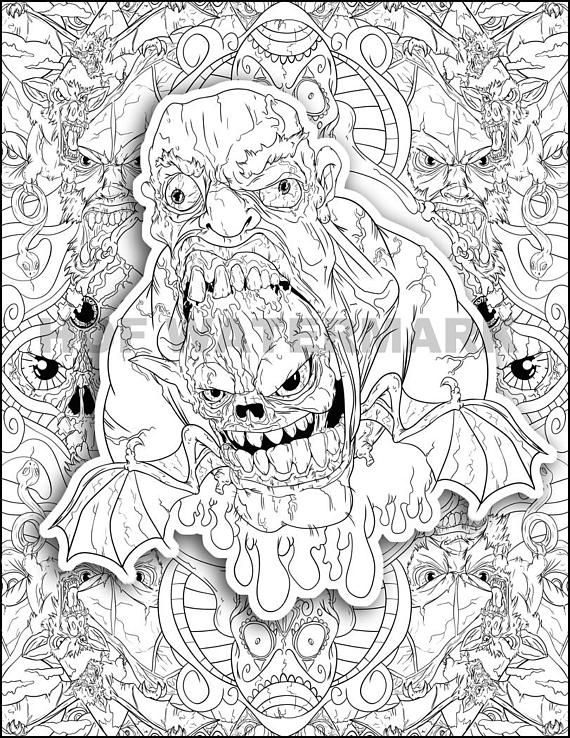 creepy coloring relax color page animal color sheet