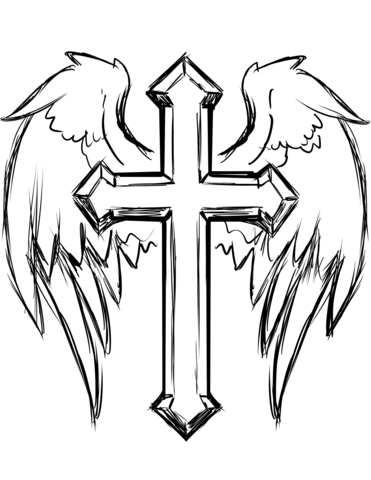 cross with wings coloring page free printable coloring pages