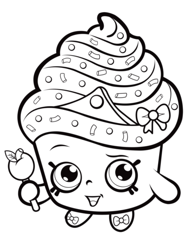 cupcake queen shopkin coloring page free printable