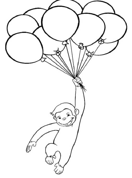 curious george with balloons coloring page cards