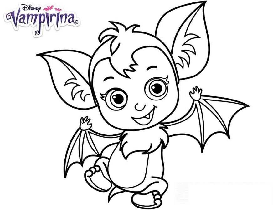 cute ba nosy bat from disney vampirina coloring pages to