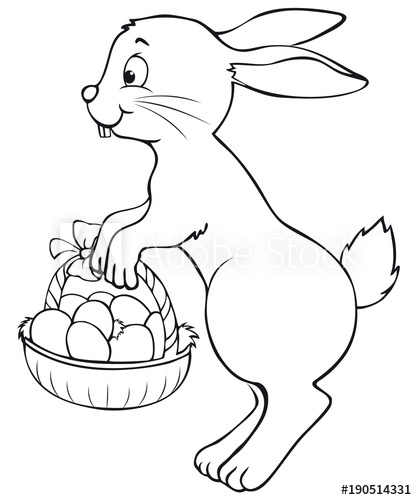 cute jumping easter bunny with easter basket coloring page