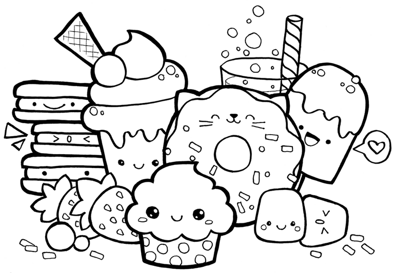 cute kawaii food with faces coloring page cute doodle art