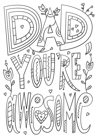 dad youre awesome coloring page free printable coloring pages