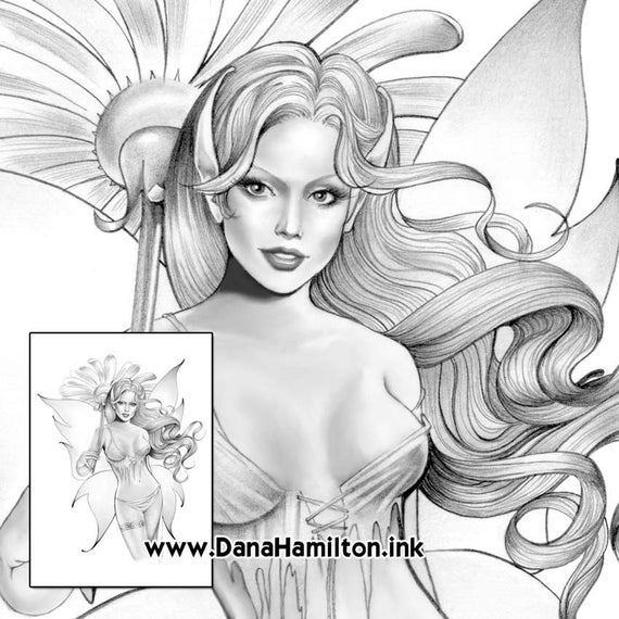 daisy fairy grayscale fairy coloring pages pdf instant download coloring pages adult coloring pages coloring books for adults