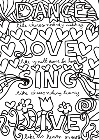 dance love sing live coloring page free printable