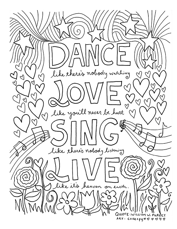 dance quote coloring pages