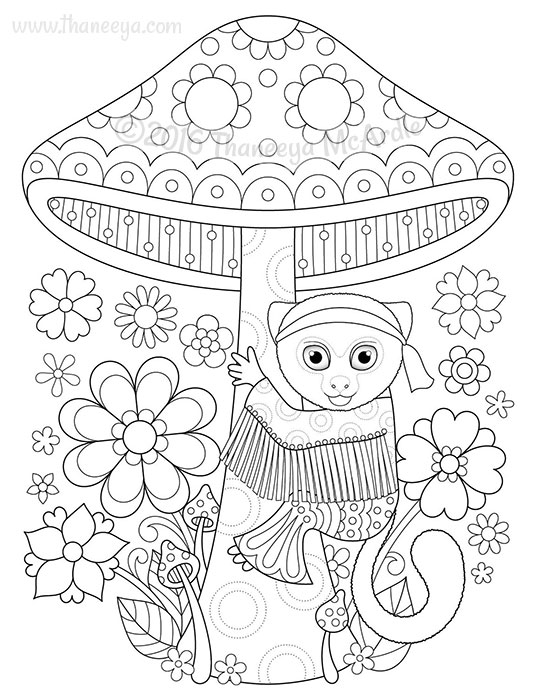 detailed coloring pages of hippies