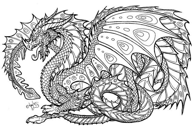 detailed dragon coloring pages for adults