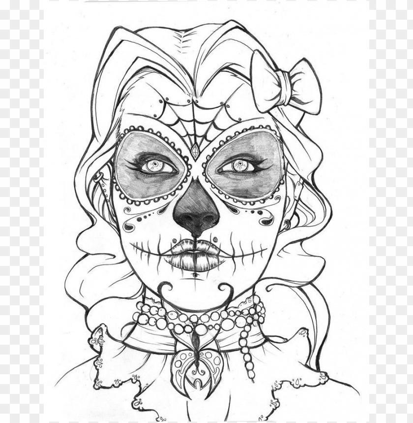 dia de los muertos skull coloring pages colored png image