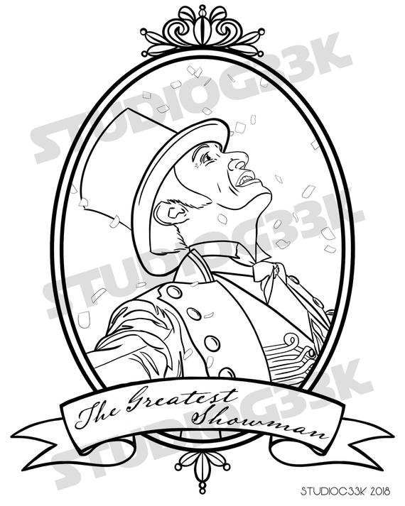 digital the greatest showman printable coloring sheet