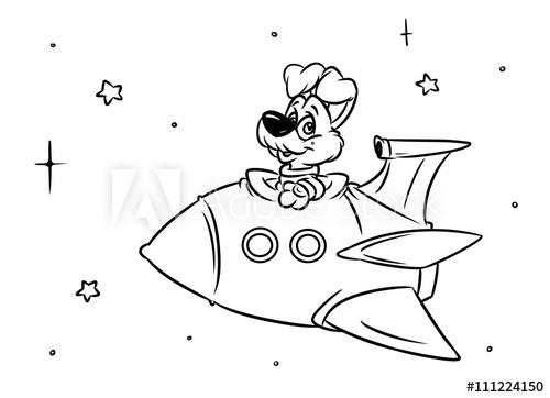 dog rocket space flight cartoon illustration coloring pages