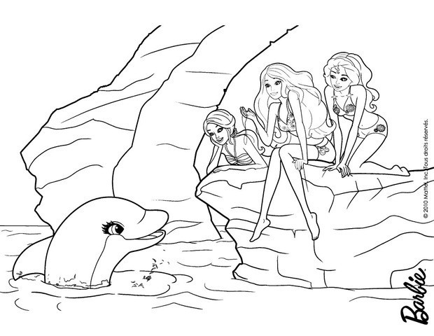 dolfin and barbies friends coloring pages hellokids