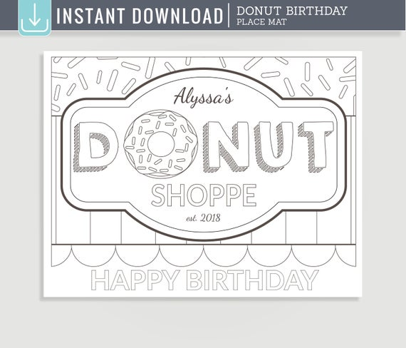 donut coloring page printable placemat for donut shop birthday party c01d pm02 ide