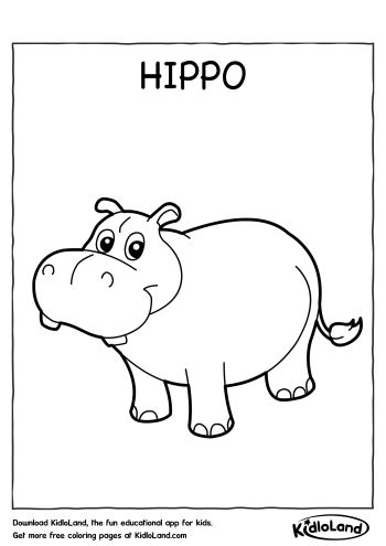 download free hippo coloring page and educational activity