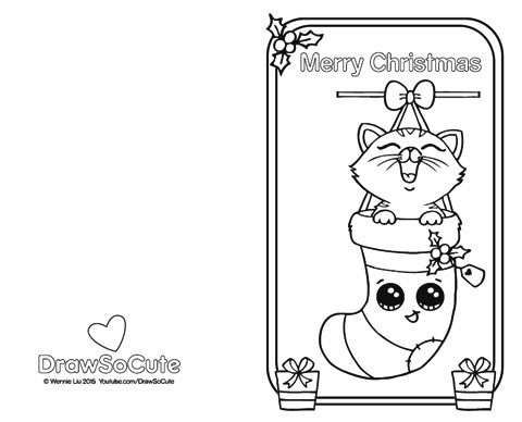 draw so cute christmas coloring pages