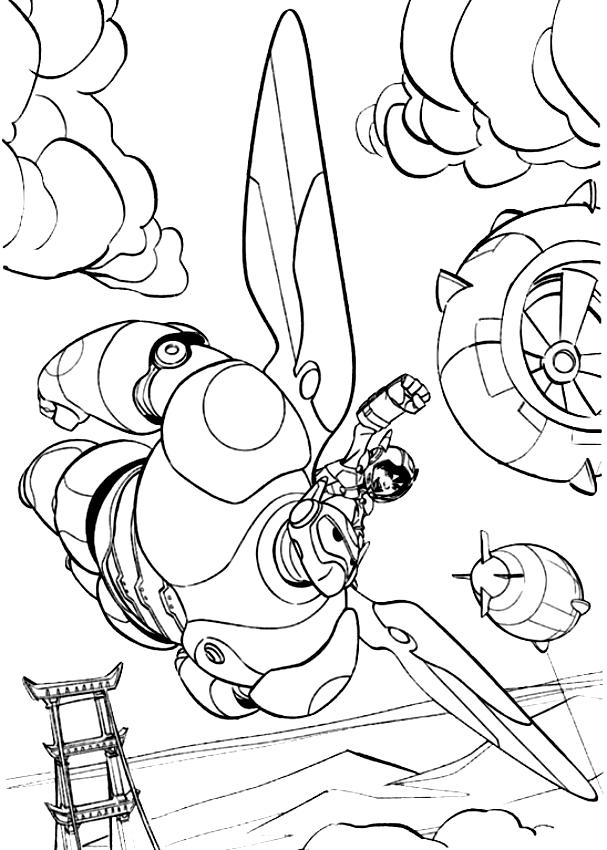 drawing hiro hamada and big hero 6 in flight big hero 6