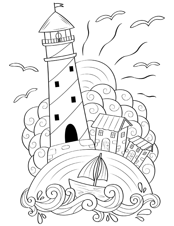 drawing lighthouse coloring book picture 2224719 drawing