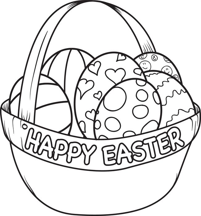 easter egg basket coloring page coloring easter eggs