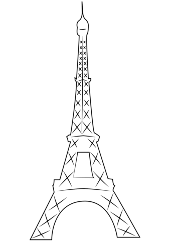 eiffel tower in paris coloring page free printable