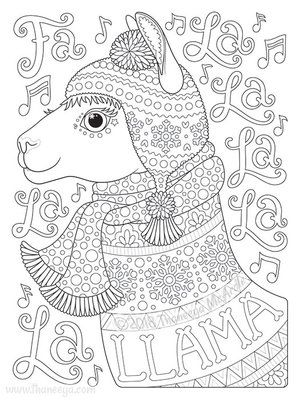 fa la la la la la la llama coloring page thaneeya