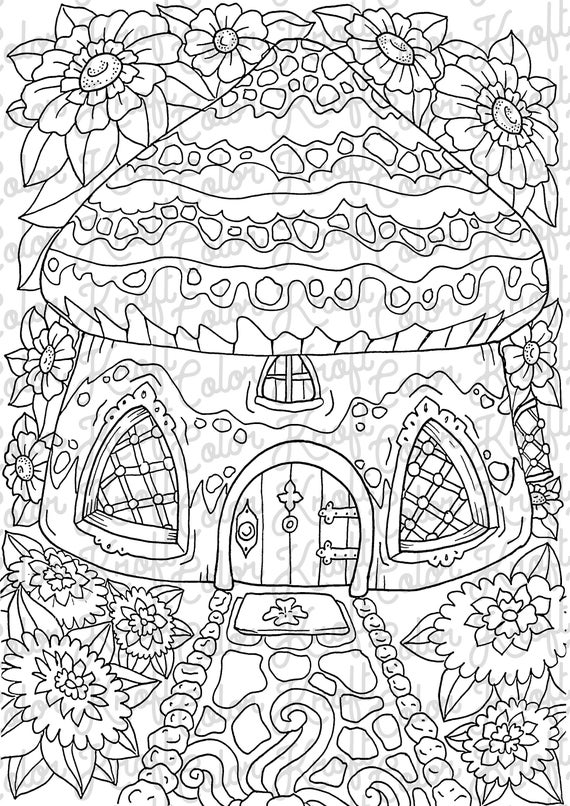 fairy garden coloring page printable coloring page digital download coloring