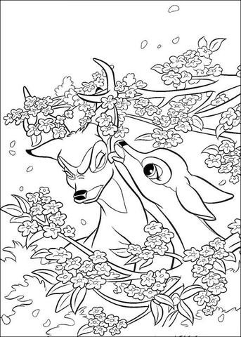 faline and bambi coloring page free printable coloring pages